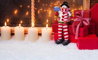 Weihnachtsdekoration, Schneemann, Geschenke