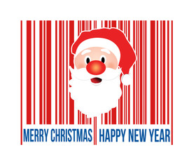 Merry Christmas barcode with Santa inside