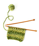 Incomplete knitting project with wooden needles - isolated poster