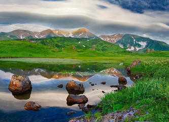Mountain landscape at Paramushir Island, Russia