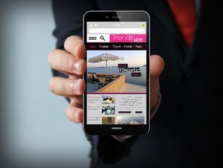 businessman with blog smartphone