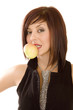 Portrait of pretty girl with open mouth eating green apple