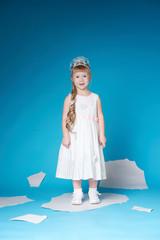 Little girl floating on ice floe
