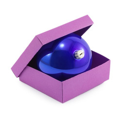 Christmas ball in box isolated on white background