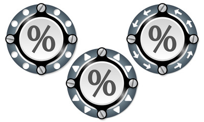 Set of three icons with perforated ring and percent symbol