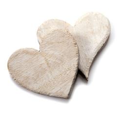 couple de coeur en bois naturel