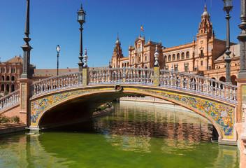 bridge of  Plaza de Espana, Seville, Spain