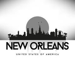New Orleans USA Skyline Silhouette Black vector