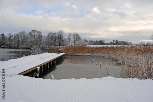 Poster kleiner Hafen im Winter