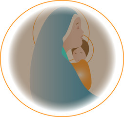 Maria and jesus' in the circle transparent