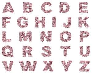 alfabeto az lettera rubino rosso rosa gemme 3d, sfondo bianco