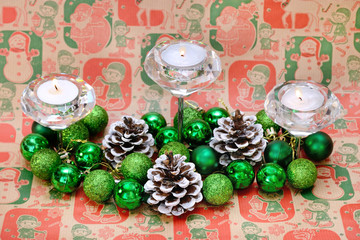 Christmas New Year Decoration With Cadnles Green Balls and Cones