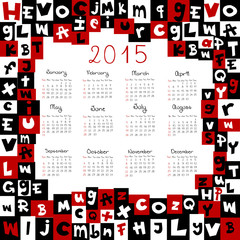 2015 calendar with letters