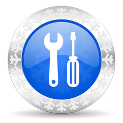 tools blue icon, christmas button, service sign