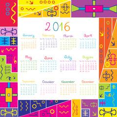 2016 calendar with frame for kids