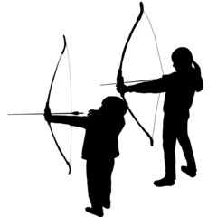 Children silhouettes playing archery