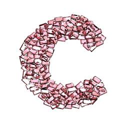 c lettera rubino rosso rosa gemme 3d, sfondo bianco