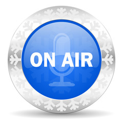 on air blue icon, christmas button