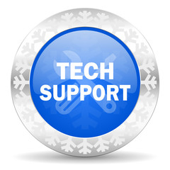 technical support blue icon, christmas button