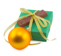 Christmas ball and chocolate in a box