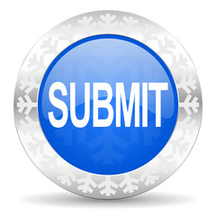 submit blue icon, christmas button