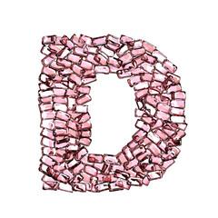 d lettera rubino rosso rosa gemme 3d, sfondo bianco