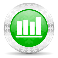 bar chart green icon, christmas button