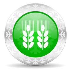 agricultural green icon, christmas button