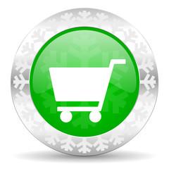 cart green icon, christmas button, shop sign