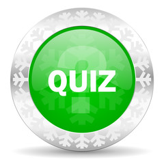 quiz green icon, christmas button
