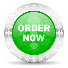 order now green icon, christmas button