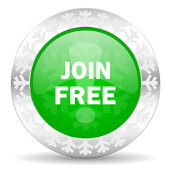 join free green icon, christmas button