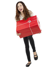 Funny woman carrying heavy gift box