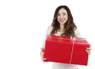 Happy shopping woman holding a gift package