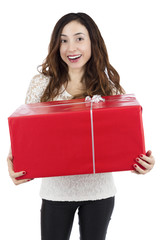 Excited smiling woman with a big gift box