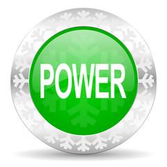 power green icon, christmas button