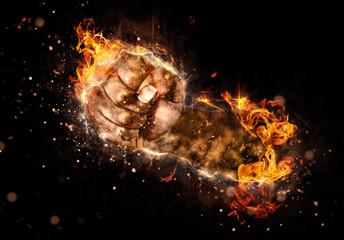 Brennende Faust aus Feuer | Flammenfaust