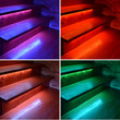 Collage of colored illuminated wooden stairs - 74735298