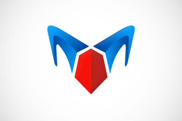 abstract horn fashion logo vector