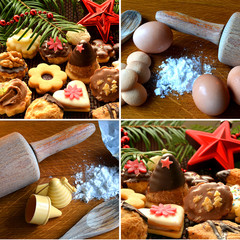 Collage of christmas sweets, baking supplies