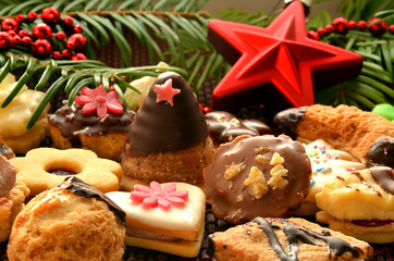 Christmas sweets, cookies and decoration