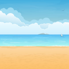 Tropical beach and clouds scene