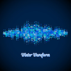 Christmas music waveform made of different scattered snowflakes