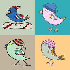 Set of Winter bird. Bird in clothing