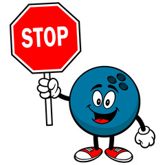 Bowling Ball with Stop Sign