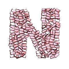 n lettera rubino rosso rosa gemme 3d, sfondo bianco