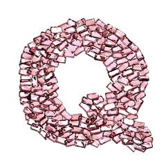 q lettera rubino rosso rosa gemme 3d, sfondo bianco