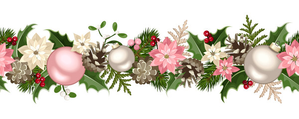 Christmas seamless garland. Vector illustration.