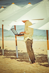 young man working remotely