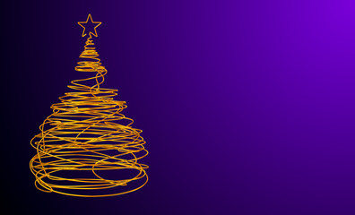 Christmas Tree Made Of Gold Wire. Violet Background. Wide.